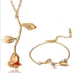18k Gold 🌹 SET pendant romantic necklace